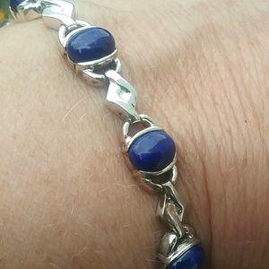 "Jewelry - Sterling Silver Oval Lapis Bracelet 7 1/2"""
